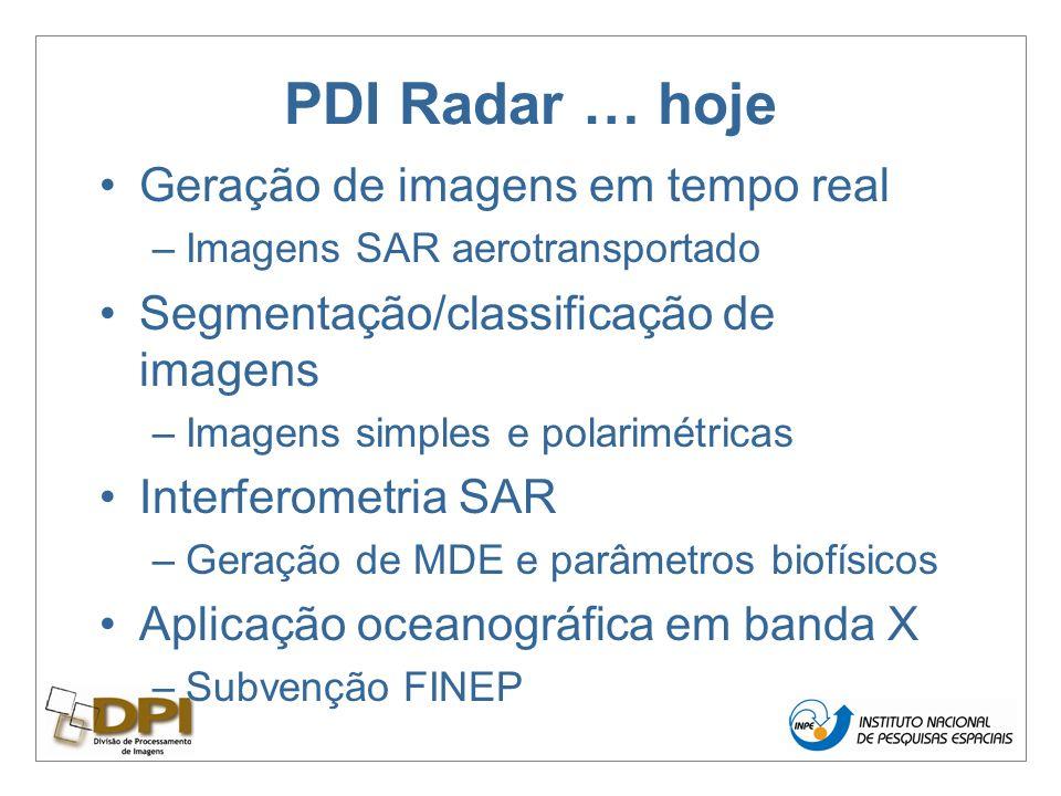PDI Radar … hoje Geração de imagens em tempo real –Imagens SAR aerotransportado Segmentação/classificação de imagens –Imagens simples e polarimétricas Interferometria SAR –Geração de MDE e parâmetros biofísicos Aplicação oceanográfica em banda X –Subvenção FINEP