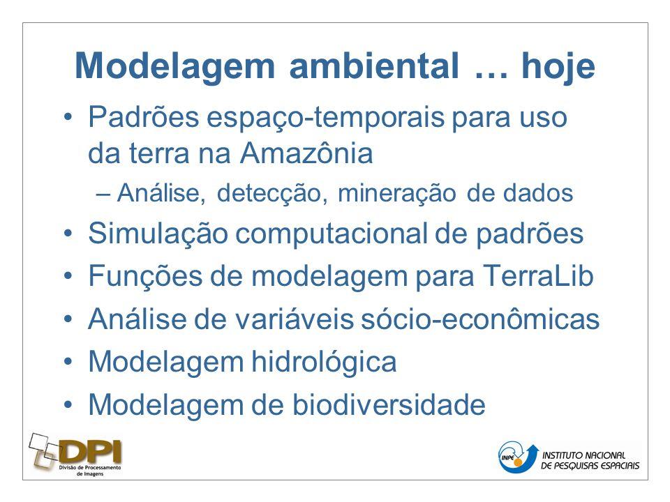 Modelagem ambiental … hoje Padrões espaço-temporais para uso da terra na Amazônia –Análise, detecção, mineração de dados Simulação computacional de padrões Funções de modelagem para TerraLib Análise de variáveis sócio-econômicas Modelagem hidrológica Modelagem de biodiversidade