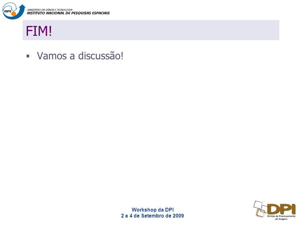 Workshop da DPI 2 a 4 de Setembro de 2009 FIM! Vamos a discussão!