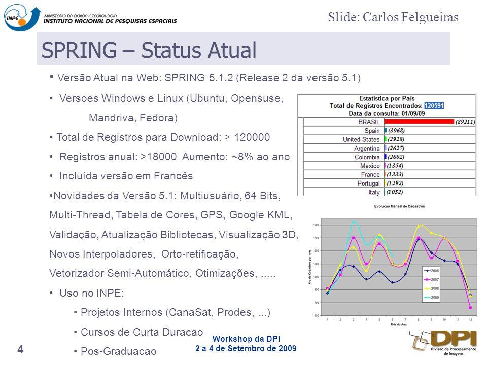 Workshop da DPI 2 a 4 de Setembro de 2009 4 Versão Atual na Web: SPRING 5.1.2 (Release 2 da versão 5.1) Versoes Windows e Linux (Ubuntu, Opensuse, Mandriva, Fedora) Total de Registros para Download: > 120000 Registros anual: >18000 Aumento: ~8% ao ano Incluída versão em Francês Novidades da Versão 5.1: Multiusuário, 64 Bits, Multi-Thread, Tabela de Cores, GPS, Google KML, Validação, Atualização Bibliotecas, Visualização 3D, Novos Interpoladores, Orto-retificação, Vetorizador Semi-Automático, Otimizações,.....