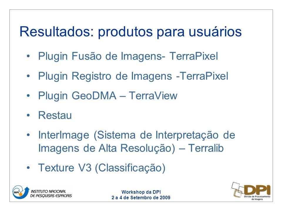Workshop da DPI 2 a 4 de Setembro de 2009 Programas: PCBS, PSSO –Suporte estratégico ao processamento, avaliação de desempenho de sensores e qualidade de imagens Programas PAMZ e PESS –Suporte ao desenvolvimento de novas metodologias de processamento, detecção de mudanças, Relação PDI X Programas
