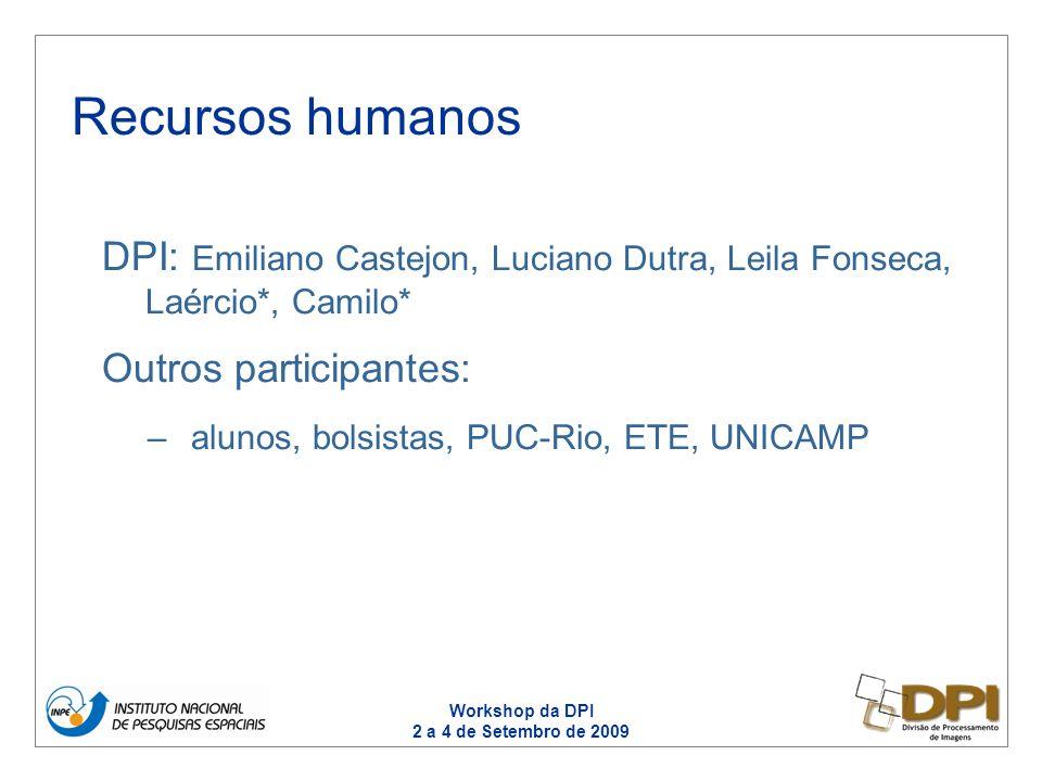 Workshop da DPI 2 a 4 de Setembro de 2009 DPI: Emiliano Castejon, Luciano Dutra, Leila Fonseca, Laércio*, Camilo* Outros participantes: –alunos, bolsistas, PUC-Rio, ETE, UNICAMP Recursos humanos