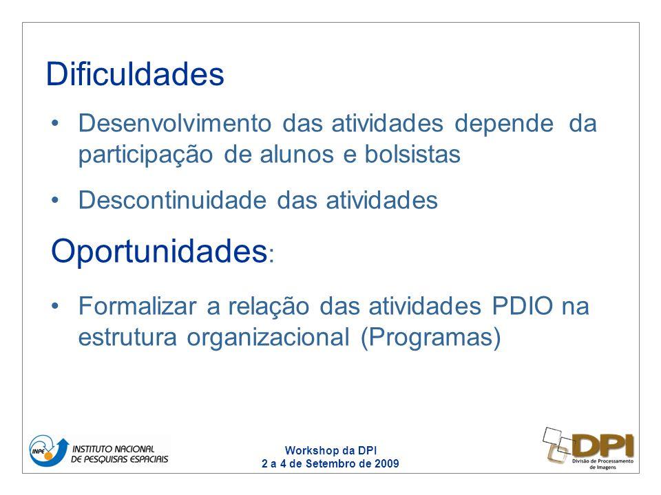 Workshop da DPI 2 a 4 de Setembro de 2009 Desenvolvimento das atividades depende da participação de alunos e bolsistas Descontinuidade das atividades Oportunidades : Formalizar a relação das atividades PDIO na estrutura organizacional (Programas) Dificuldades