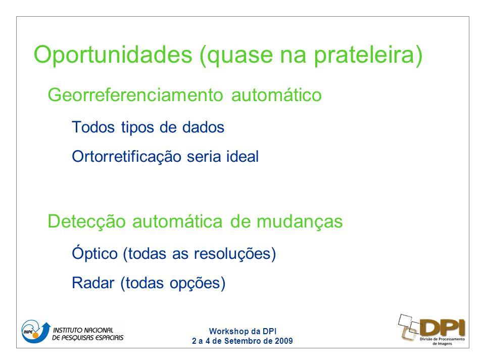 Workshop da DPI 2 a 4 de Setembro de 2009 Georreferenciamento automático Todos tipos de dados Ortorretificação seria ideal Detecção automática de mudanças Óptico (todas as resoluções) Radar (todas opções) Oportunidades (quase na prateleira)