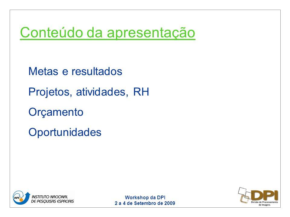 Workshop da DPI 2 a 4 de Setembro de 2009 Metas e resultados Projetos, atividades, RH Orçamento Oportunidades Conteúdo da apresentação