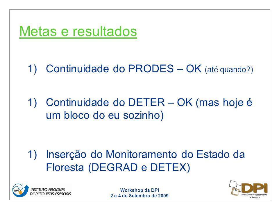 Workshop da DPI 2 a 4 de Setembro de 2009 1)Continuidade do PRODES – OK (até quando ) 1)Continuidade do DETER – OK (mas hoje é um bloco do eu sozinho) 1)Inserção do Monitoramento do Estado da Floresta (DEGRAD e DETEX) Metas e resultados