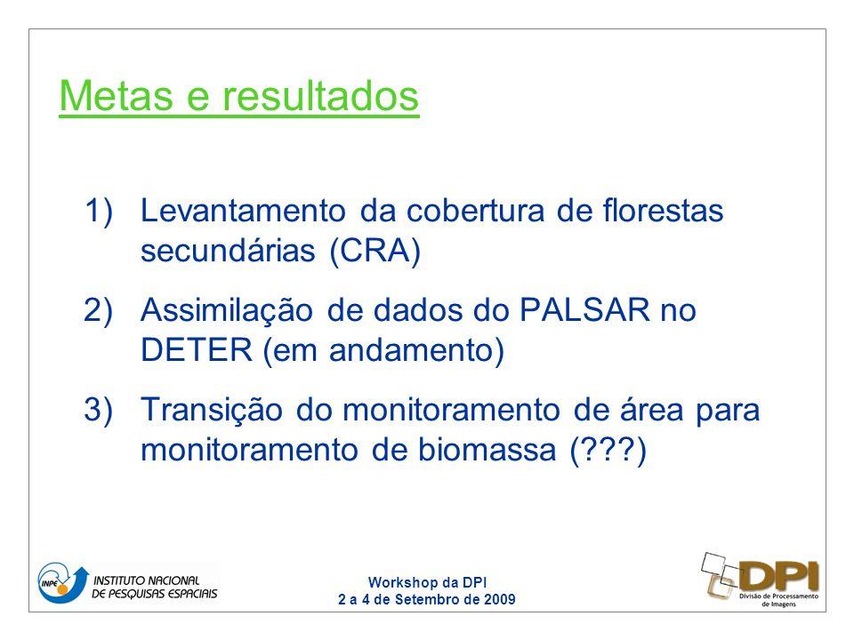 Workshop da DPI 2 a 4 de Setembro de 2009 1)Levantamento da cobertura de florestas secundárias (CRA) 2)Assimilação de dados do PALSAR no DETER (em andamento) 3)Transição do monitoramento de área para monitoramento de biomassa ( ) Metas e resultados