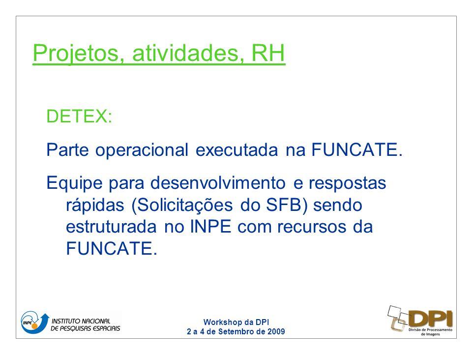 Workshop da DPI 2 a 4 de Setembro de 2009 DETEX: Parte operacional executada na FUNCATE. Equipe para desenvolvimento e respostas rápidas (Solicitações
