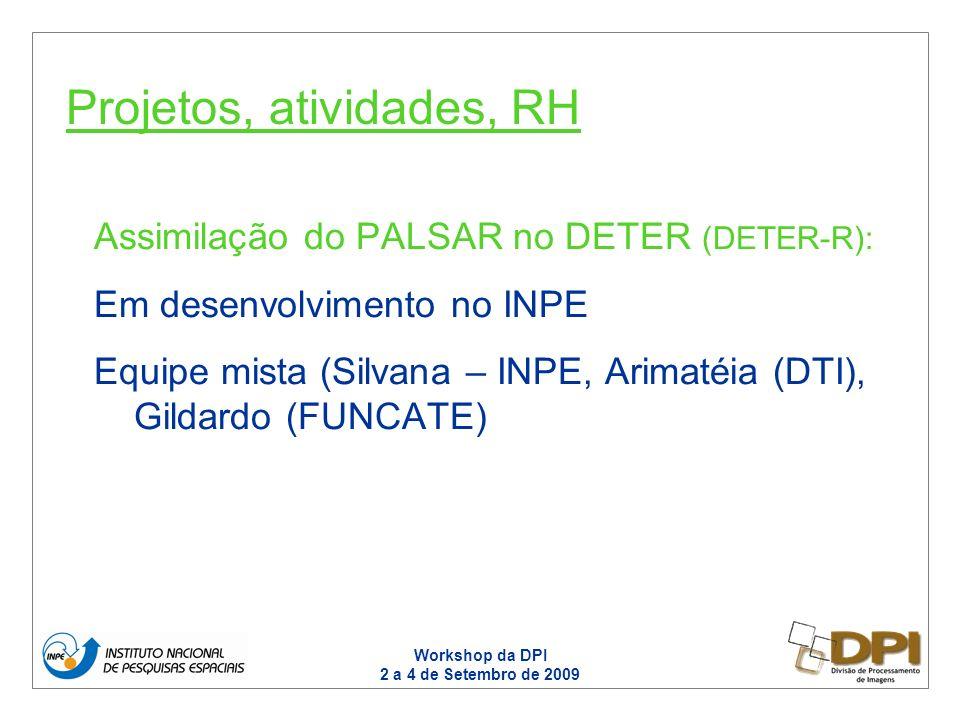 Workshop da DPI 2 a 4 de Setembro de 2009 Assimilação do PALSAR no DETER (DETER-R): Em desenvolvimento no INPE Equipe mista (Silvana – INPE, Arimatéia (DTI), Gildardo (FUNCATE) Projetos, atividades, RH