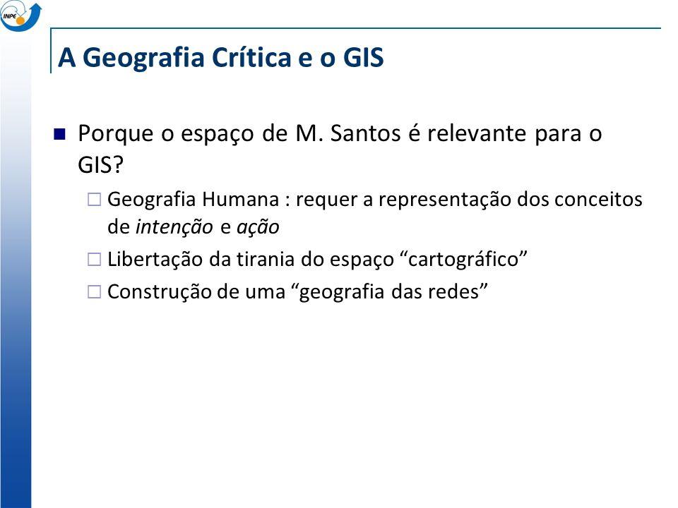 A Geografia Crítica e o GIS O Espaço em Milton Santos Sistema de objetos, sistema de ações Conjunto de fixos e fluxos conceitos fundamentais: rede, ru