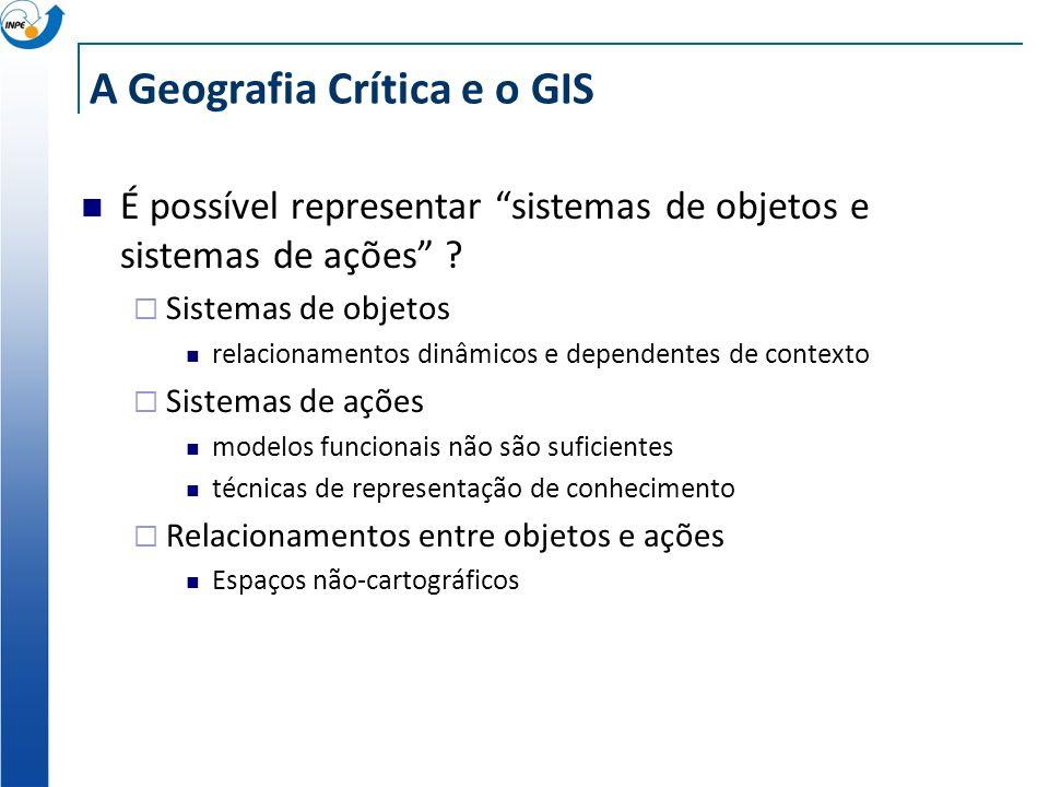A Geografia Crítica e o GIS Porque o espaço de M. Santos é relevante para o GIS? Geografia Humana : requer a representação dos conceitos de intenção e