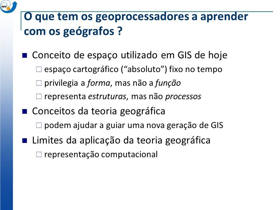O que tem os geoprocessadores a aprender com os geógrafos ? Pergunte a um geoprocessador o que ele sabe sobre: Hartshorne e a unidade-área Hagerstrand