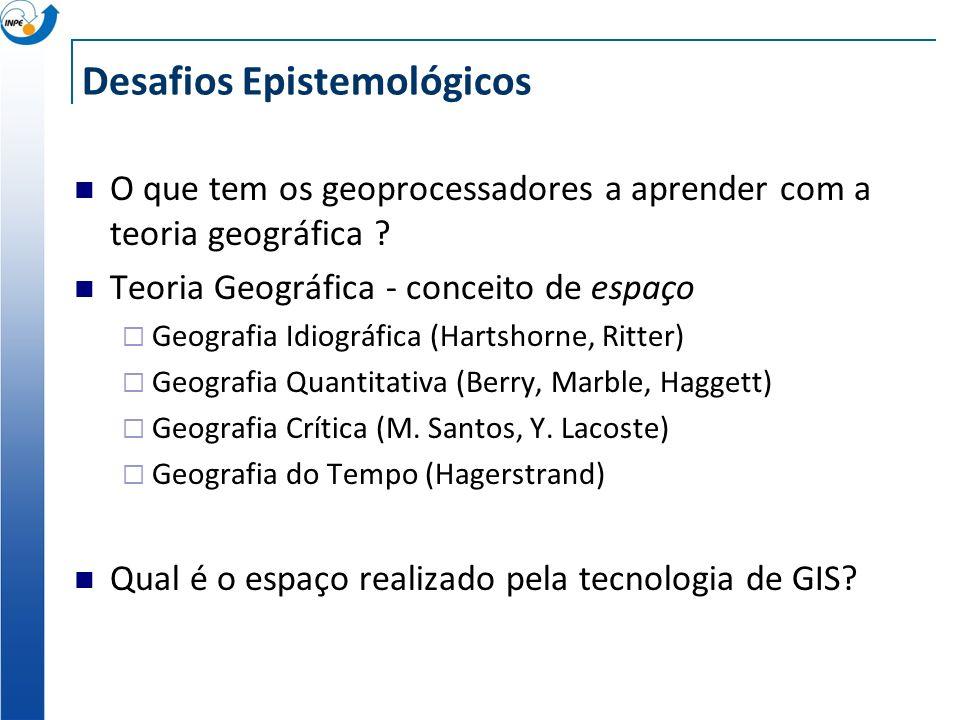 O que tem os geoprocessadores a aprender com os geógrafos ? Conceito de espaço utilizado em GIS de hoje espaço cartográfico (absoluto) fixo no tempo p