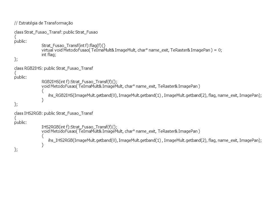 // Estratégia de Transformação class Strat_Fusao_Transf: public Strat_Fusao { public: Strat_Fusao_Transf(int f):flag(f){} virtual void MetodoFusao( Te