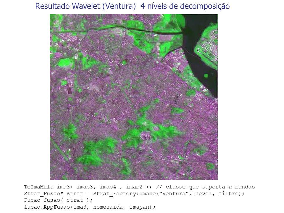 Resultado Wavelet (Ventura) 4 níveis de decomposição TeImaMult ima3( imab3, imab4, imab2 ); // classe que suporta n bandas Strat_Fusao* strat = Strat_