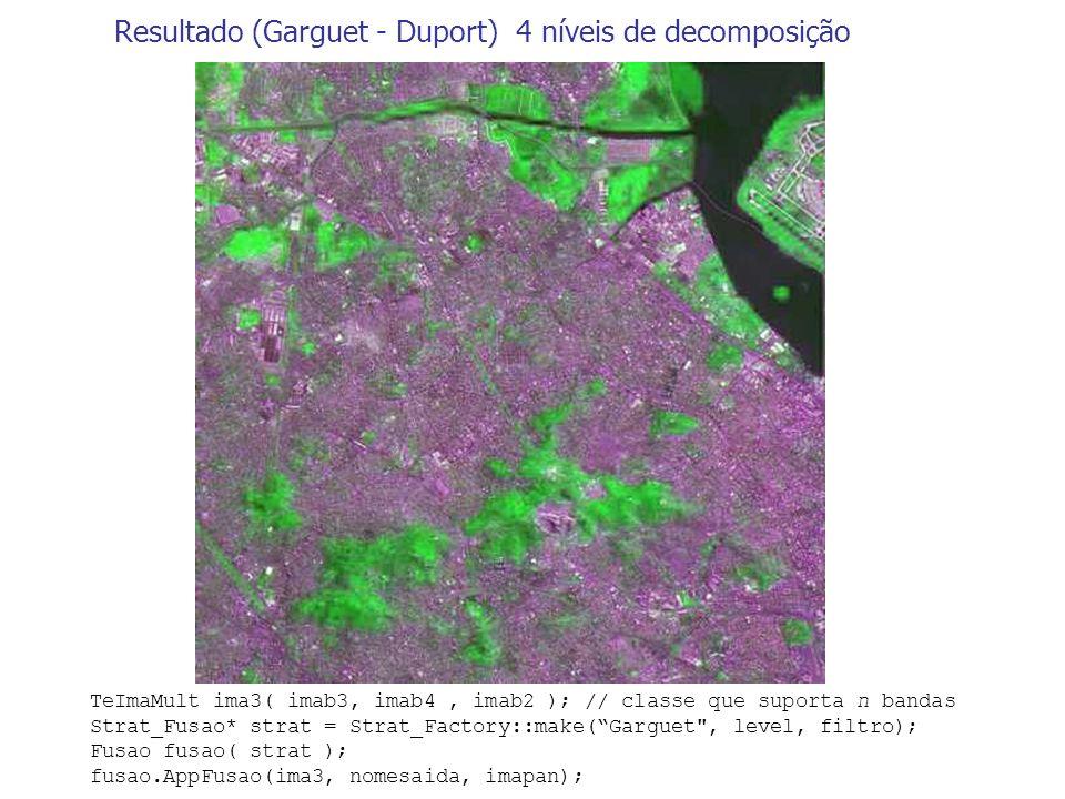 Resultado (Garguet - Duport) 4 níveis de decomposição TeImaMult ima3( imab3, imab4, imab2 ); // classe que suporta n bandas Strat_Fusao* strat = Strat