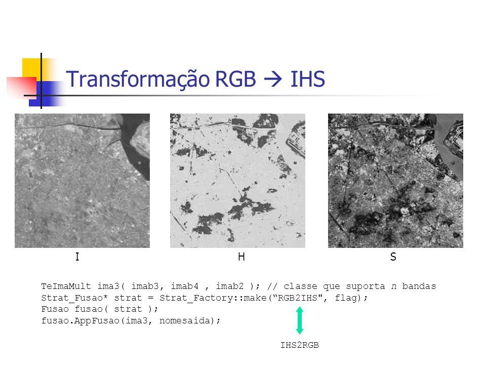 I H S Transformação RGB IHS TeImaMult ima3( imab3, imab4, imab2 ); // classe que suporta n bandas Strat_Fusao* strat = Strat_Factory::make(RGB2IHS