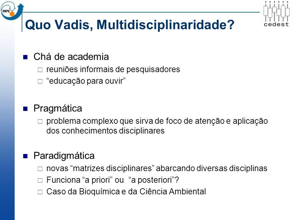 Quo Vadis, Multidisciplinaridade.