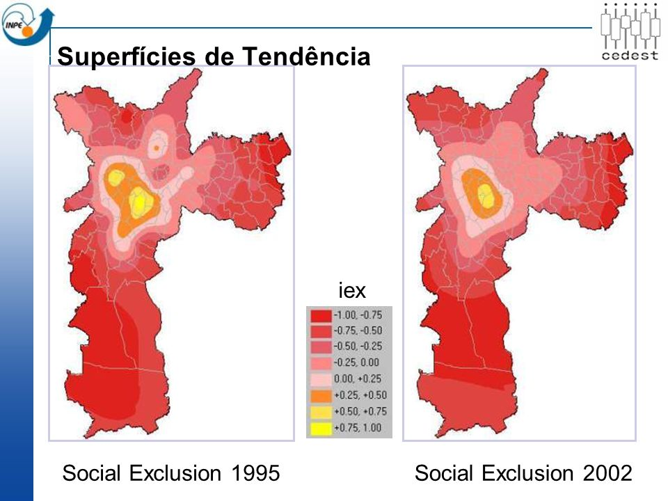 Social Exclusion 1995 iex Superfícies de Tendência Social Exclusion 2002