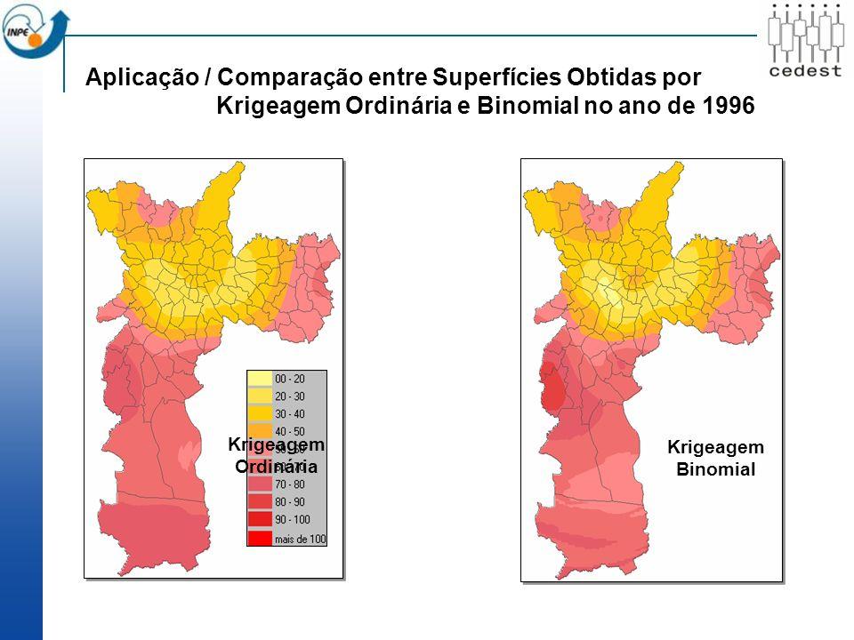 Aplicação / Comparação entre Superfícies Obtidas por Krigeagem Ordinária e Binomial no ano de 1996 Krigeagem Ordinária Krigeagem Binomial