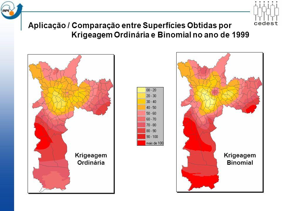 Aplicação / Comparação entre Superfícies Obtidas por Krigeagem Ordinária e Binomial no ano de 1999 Krigeagem Ordinária Krigeagem Binomial