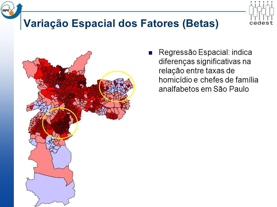 Variação Espacial dos Fatores (Betas) Regressão Espacial: indica diferenças significativas na relação entre taxas de homicídio e chefes de família analfabetos em São Paulo