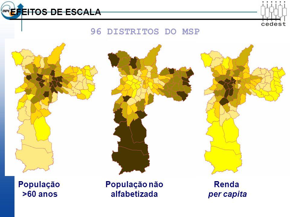 EFEITOS DE ESCALA População >60 anos População não alfabetizada Renda per capita 96 DISTRITOS DO MSP