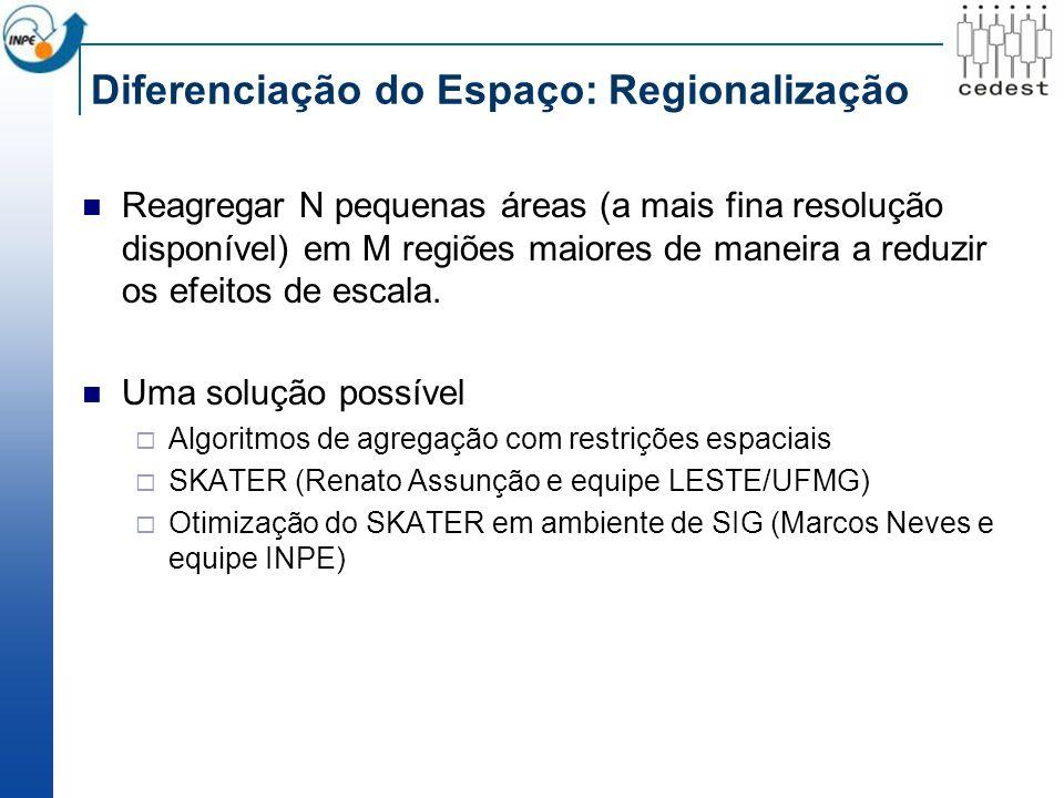 Diferenciação do Espaço: Regionalização Reagregar N pequenas áreas (a mais fina resolução disponível) em M regiões maiores de maneira a reduzir os efeitos de escala.