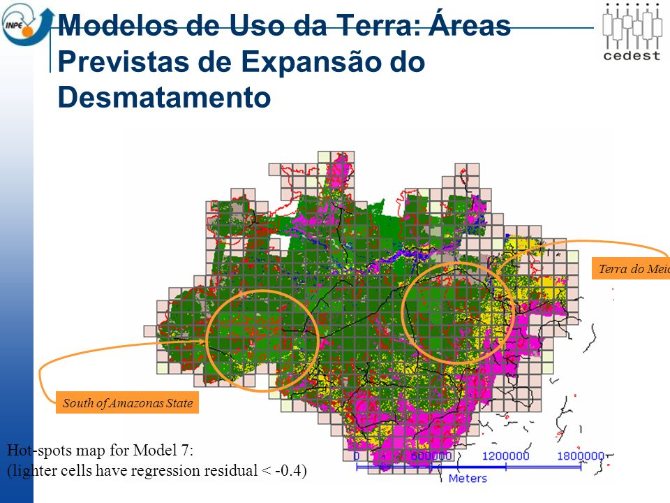 Modelos de Uso da Terra: Áreas Previstas de Expansão do Desmatamento Terra do Meio, Pará State South of Amazonas State Hot-spots map for Model 7: (lig
