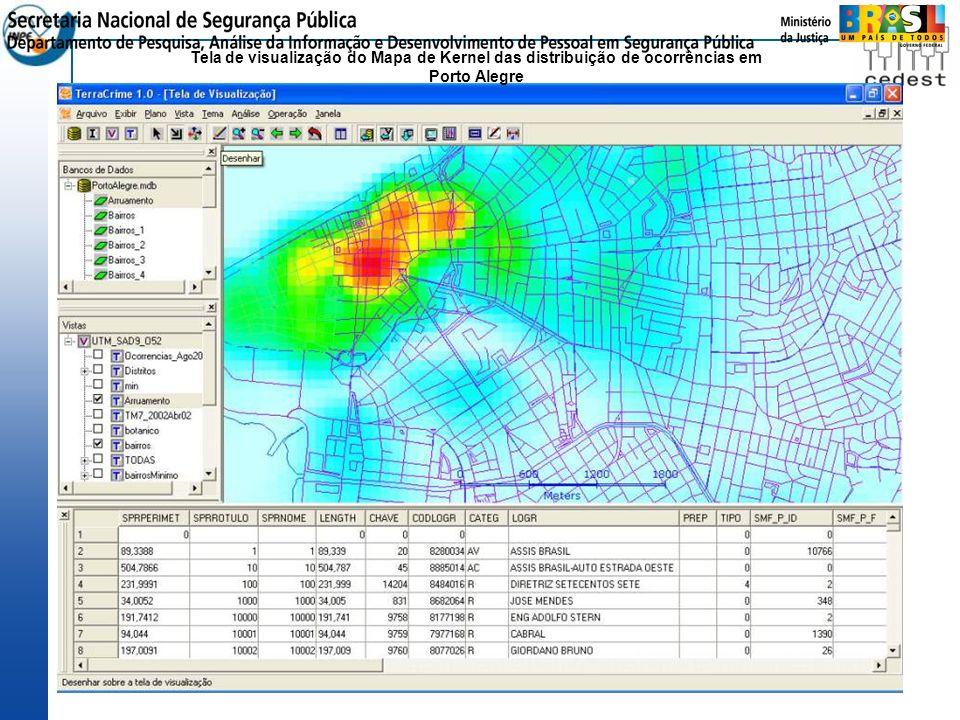 Tela de visualização do Mapa de Kernel das distribuição de ocorrências em Porto Alegre