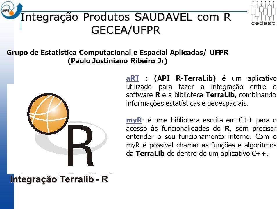 Integração Produtos SAUDAVEL com R GECEA/UFPR Integração Terralib - R aRTaRT : (API R-TerraLib) é um aplicativo utilizado para fazer a integração entre o software R e a biblioteca TerraLib, combinando informações estatísticas e geoespaciais.