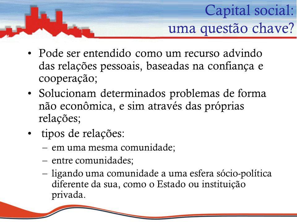 Capital social: uma questão chave? Pode ser entendido como um recurso advindo das relações pessoais, baseadas na confiança e cooperação; Solucionam de