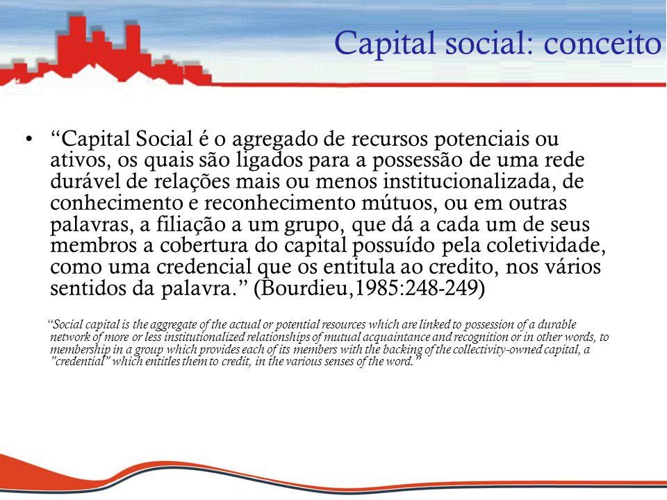 Capital social: conceito Capital Social é o agregado de recursos potenciais ou ativos, os quais são ligados para a possessão de uma rede durável de re