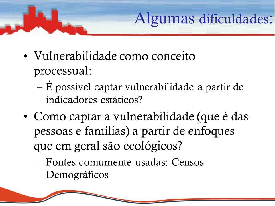 Algumas dificuldades : Vulnerabilidade como conceito processual: –É possível captar vulnerabilidade a partir de indicadores estáticos? Como captar a v