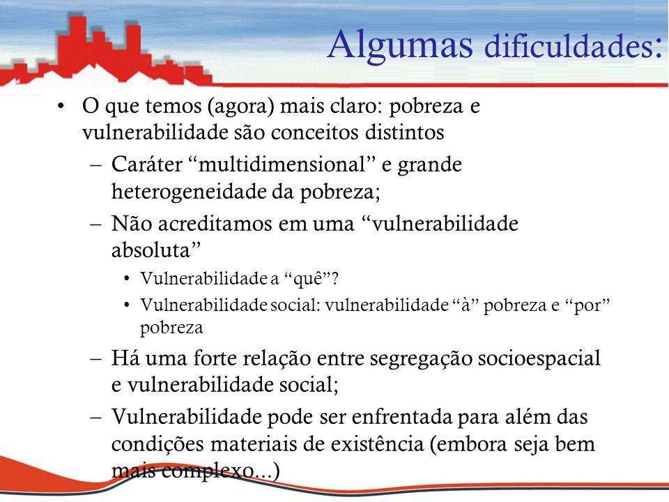 Algumas dificuldades : O que temos (agora) mais claro: pobreza e vulnerabilidade são conceitos distintos –Caráter multidimensional e grande heterogene