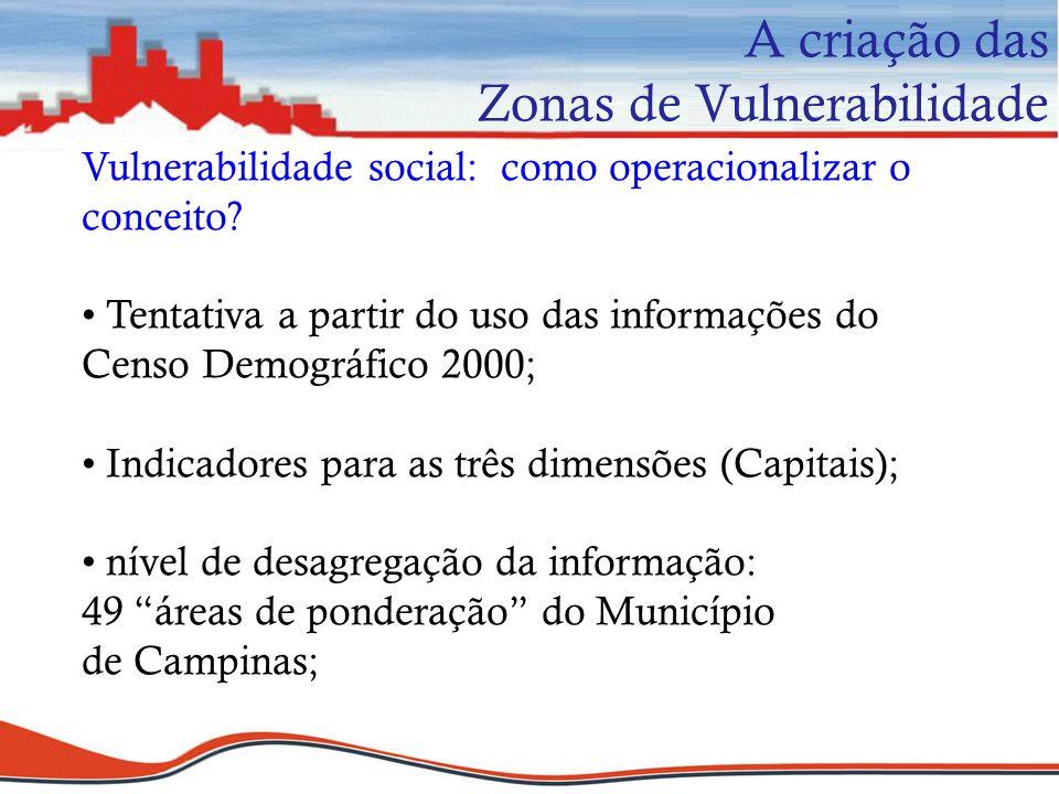 Vulnerabilidade social: como operacionalizar o conceito? Tentativa a partir do uso das informações do Censo Demográfico 2000; Indicadores para as três