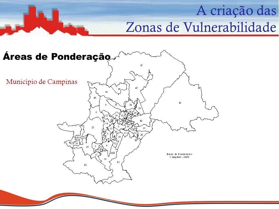 Áreas de Ponderação A criação das Zonas de Vulnerabilidade Município de Campinas