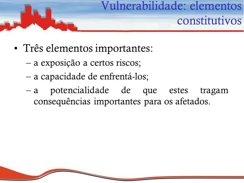 Três elementos importantes: –a exposição a certos riscos; –a capacidade de enfrentá-los; –a potencialidade de que estes tragam consequências important