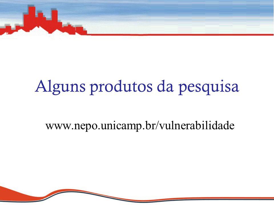 Alguns produtos da pesquisa www.nepo.unicamp.br/vulnerabilidade