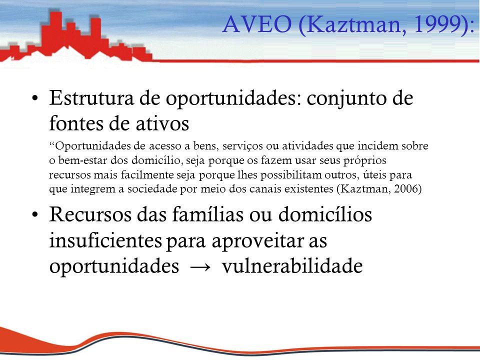Estrutura de oportunidades: conjunto de fontes de ativos Oportunidades de acesso a bens, serviços ou atividades que incidem sobre o bem-estar dos domi