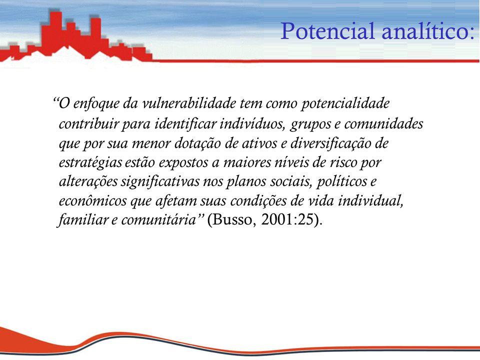 Potencial analítico: O enfoque da vulnerabilidade tem como potencialidade contribuir para identificar indivíduos, grupos e comunidades que por sua men