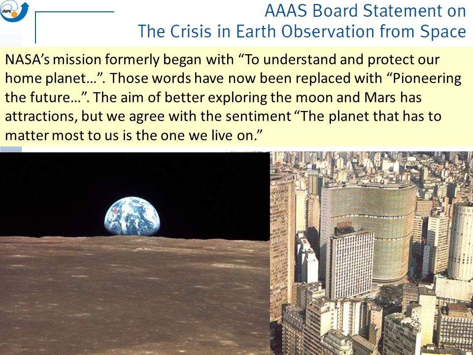 NASAs mission formerly began with To understand and protect our home planet…. Those words have now been replaced with Pioneering the future…. The aim