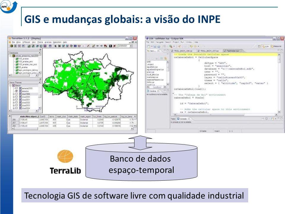GIS e mudanças globais: a visão do INPE Banco de dados espaço-temporal Tecnologia GIS de software livre com qualidade industrial