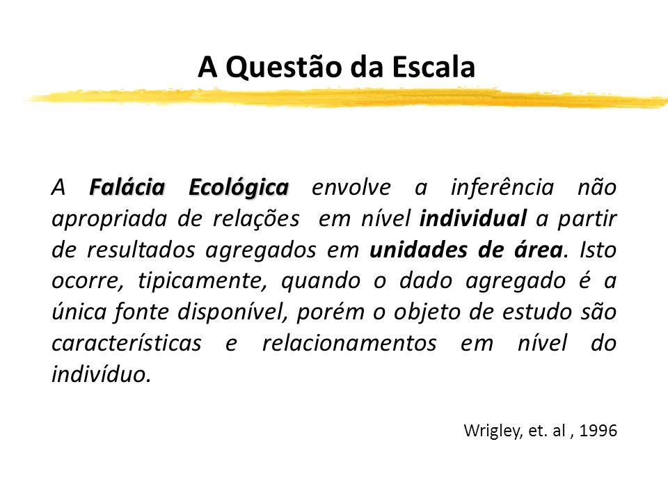 Problema das Unidades de Área Modificáveis - MAUP Falácia Ecológica A Falácia Ecológica envolve a inferência não apropriada de relações em nível individual a partir de resultados agregados em unidades de área.