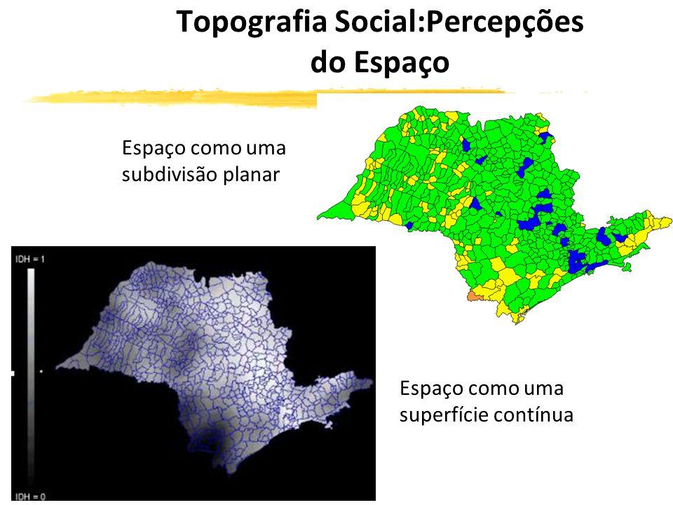 Topografia Social:Percepções do Espaço Espaço como uma subdivisão planar Espaço como uma superfície contínua