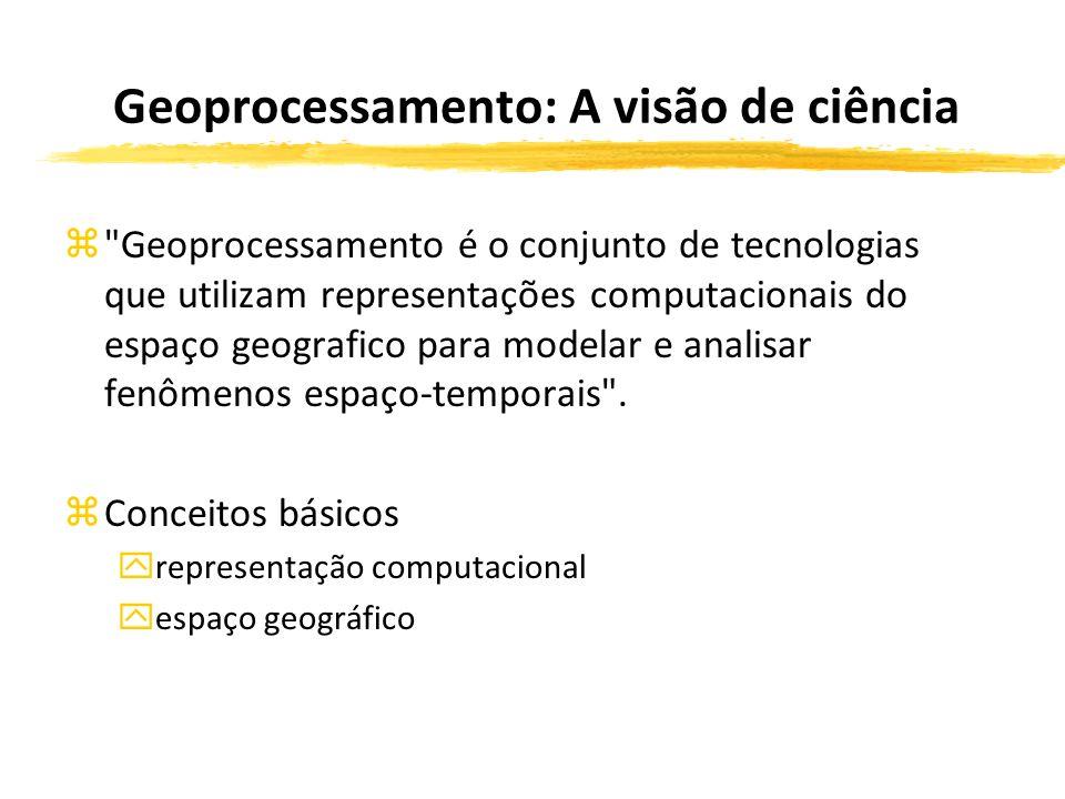 Geoprocessamento: A visão de ciência z Geoprocessamento é o conjunto de tecnologias que utilizam representações computacionais do espaço geografico para modelar e analisar fenômenos espaço-temporais .