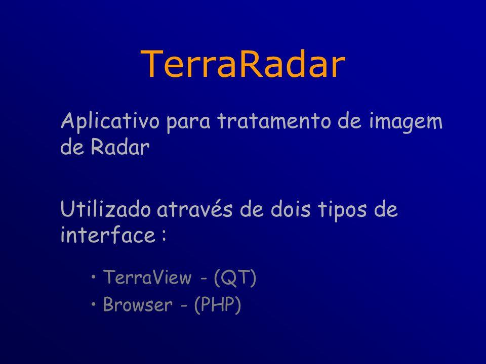 TerraRadar Aplicativo para tratamento de imagem de Radar Utilizado através de dois tipos de interface : TerraView - (QT) Browser - (PHP)