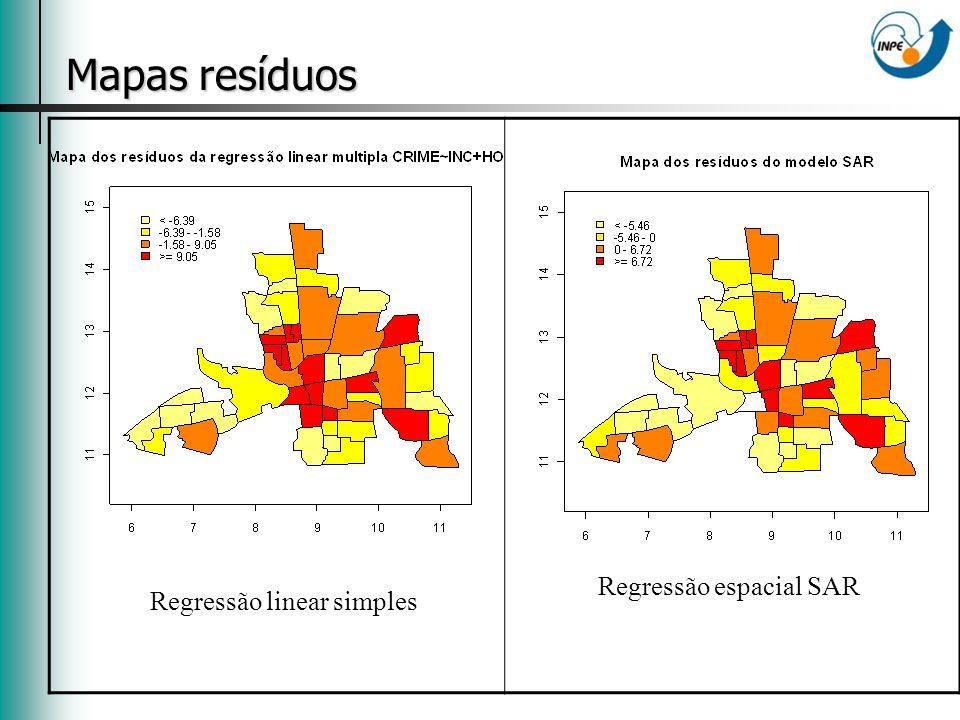 Mapas resíduos Regressão linear simples Regressão espacial SAR