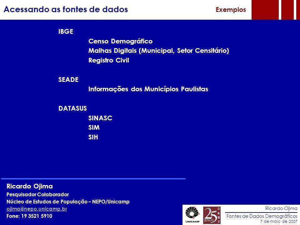 Ricardo Ojima Fontes de Dados Demográficos 7 de maio de 2007 Acessando as fontes de dados Exemplos IBGE Censo Demográfico Malhas Digitais (Municipal,