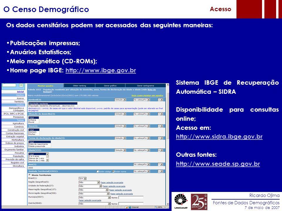 Ricardo Ojima Fontes de Dados Demográficos 7 de maio de 2007 O Censo Demográfico Acesso Os dados censitários podem ser acessados das seguintes maneira